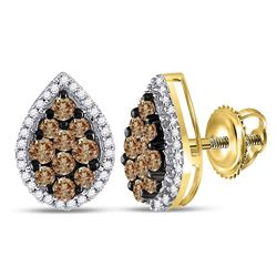 1 CTW Round Brown Diamond Teardrop Cluster Earrings 10kt Yellow Gold - REF-33M6A