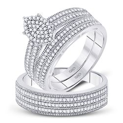 3/4 CTW His & Hers Round Diamond Marquise-shape Cluster Matching Wedding Ring 10kt White Gold - REF-
