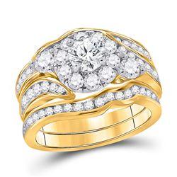 2 CTW Round Diamond Bridal Wedding Engagement Ring 14kt Yellow Gold - REF-258A3N