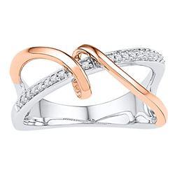 1/10 CTW Round Diamond Rose-tone Spiral Strand Crossover Ring 10kt White Gold - REF-20W3F