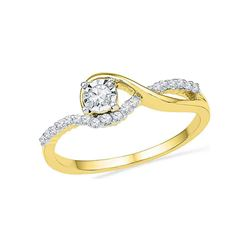 1/6 CTW Round Diamond Solitaire Bridal Wedding Engagement Ring 10kt Yellow Gold - REF-16X8T