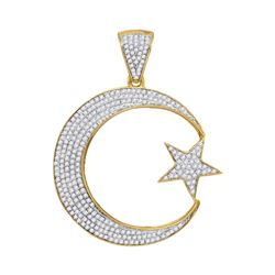 3/4 CTW Mens Round Diamond Star & Crescent Charm Pendant 10kt Yellow Gold - REF-41W9F