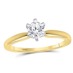 1/2 CTW Round Diamond Solitaire Bridal Wedding Engagement Ring 14kt Yellow Gold - REF-95T9K