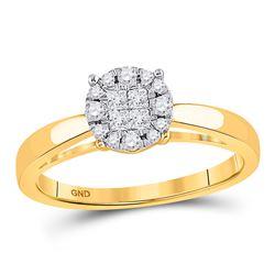 1/4 CTW Princess Round Diamond Bridal Wedding Engagement Ring 14kt Yellow Gold - REF-35W9F
