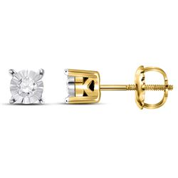 1/10 CTW Round Diamond Solitaire Stud Earrings 10kt Yellow Gold - REF-9A6N