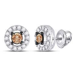3/4 CTW Brown Round Diamond Screwback Stud Earrings 10kt White Gold - REF-33N6Y