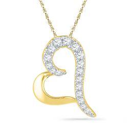 1/12 CTW Round Diamond Heart Pendant 10kt Yellow Gold - REF-5M9A