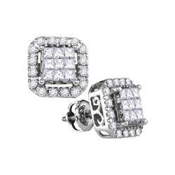 1 CTW Princess Diamond Square Frame Cluster Stud Earrings 14kt White Gold - REF-83R9H