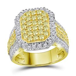 2 & 1/3 CTW Round Canary Yellow Diamond Rectangle Cluster Ring 14kt Yellow Gold - REF-149T8K