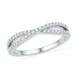 1/4 CTW Round Diamond Crossover Ring 10kt White Gold - REF-19N2Y