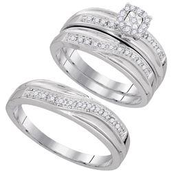 1/3 CTW Round Diamond Matching Trio Mens Wedding Bridal Ring 10kt White Gold - REF-39Y6X