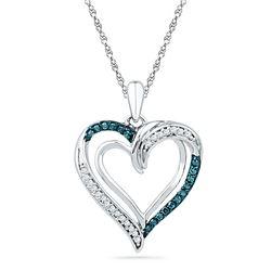 1/6 CTW Round Blue Color Enhanced Diamond Heart Pendant 10kt White Gold - REF-14H4W