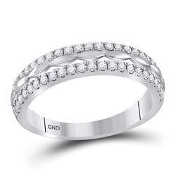 1/2 CTW Round Diamond Double Row Ring 14kt White Gold - REF-35Y9X