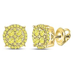 3/4 CTW Round Canary Diamond Concentric Cluster Stud Earrings 10kt Yellow Gold - REF-41A9N