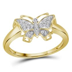 1/20 CTW Round Diamond Butterfly Bug Ring 10kt Yellow Gold - REF-11Y9X
