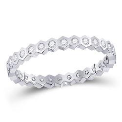 1/4 CTW Round Diamond Machine-Set Ring 14kt White Gold - REF-26F9M