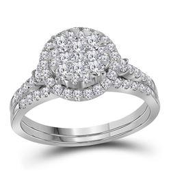 1 CTW Round Diamond Cluster Halo Bridal Wedding Engagement Ring 14kt White Gold - REF-65T9K