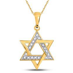 1/10 CTW Round Diamond Star Magen David Jewish Pendant 10kt Yellow Gold - REF-11R9H