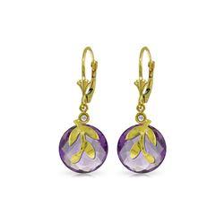 Genuine 10.63 ctw Amethyst & Diamond Earrings 14KT Yellow Gold - REF-44V7W