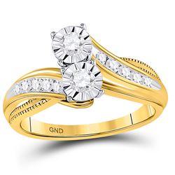 1/2 CTW Round Diamond 2-stone Bridal Wedding Engagement Ring 14kt Yellow Gold - REF-63M3A