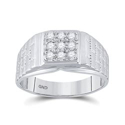 1/4 CTW Mens Round Diamond Square Cluster Brick Ring 10kt White Gold - REF-27R3H