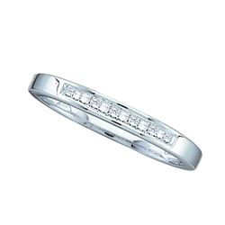 1/8 CTW Princess Diamond Slender Single Row Wedding Ring 14kt White Gold - REF-20N3Y