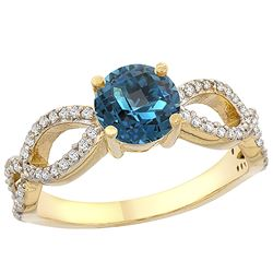 1.25 CTW London Blue Topaz & Diamond Ring 14K Yellow Gold - REF-50N2Y