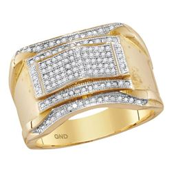 1/3 CTW Mens Round Diamond Contoured Arch Cluster Ring 10kt Yellow Gold - REF-41K9R