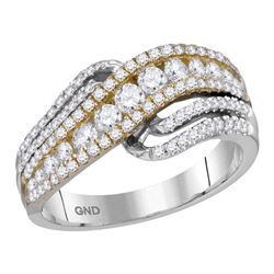 1 CTW Round Diamond Crossover Ring 14kt Two-tone White Yellow Gold - REF-83X9T