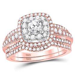 1 CTW Round Diamond Bridal Wedding Engagement Ring 14kt Rose Gold - REF-120X3T