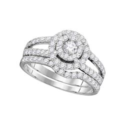 1 CTW Round Diamond Bridal Wedding Engagement Ring 14kt White Gold - REF-90H3W