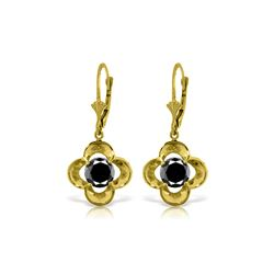 Genuine 1.0 ctw Black Diamond Earrings 14KT Yellow Gold - REF-76P2H