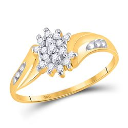1/8 CTW Round Diamond Cluster Ring 10kt Yellow Gold - REF-8M4A