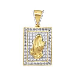 1/2 CTW Mens Round Diamond Praying Hands Frame Charm Pendant 10kt Yellow Gold - REF-35F9M