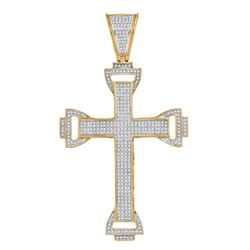 1 CTW Mens Round Diamond Capital Cross Charm Pendant 10kt Yellow Gold - REF-77H9W