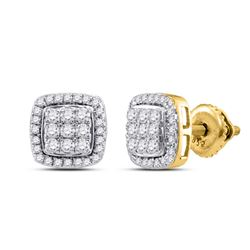 1/2 CTW Round Diamond Square Cluster Earrings 10kt Yellow Gold - REF-30Y3X