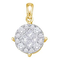 1 CTW Yellow Princess Round Diamond Cluster Pendant 14kt White Gold - REF-83N9Y