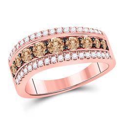 1 CTW Round Brown Diamond Contoured Ring 10kt Rose Gold - REF-69T3K