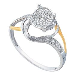 1/10 CTW Round Diamond Oval Cluster Split-shank Ring 10kt White Two-tone Gold - REF-10Y2X