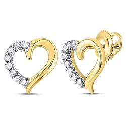 1/10 CTW Round Diamond Heart Stud Earrings 10kt Yellow Gold - REF-8Y4X