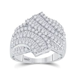 1 & 3/4 CTW Round Baguette Diamond Bypass Fashion Ring 14kt White Gold - REF-105Y5X