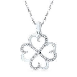 1/5 CTW Round Diamond Heart Pendant 10kt White Gold - REF-15X5T