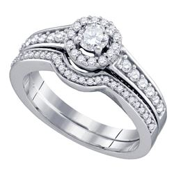 3/4 CTW Round Diamond Bridal Wedding Engagement Ring 14kt White Gold - REF-87X5T