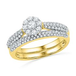 5/8 CTW Round Diamond Cluster Bridal Wedding Engagement Ring 10kt Yellow Gold - REF-39X6T