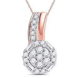 1/6 CTW Round Diamond Flower Cluster Pendant 14kt Rose Gold - REF-9X6T