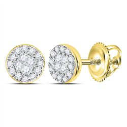 1/6 CTW Princess Round Diamond Cluster Earrings 10kt Yellow Gold - REF-15F3M