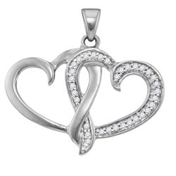 1/10 CTW Round Diamond Double Joined Heart Pendant 10kt White Gold - REF-8F4M