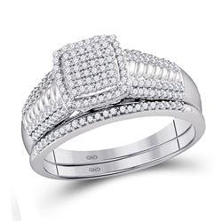 3/8 CTW Round Diamond Bridal Wedding Engagement Ring 10kt White Gold - REF-35K9R