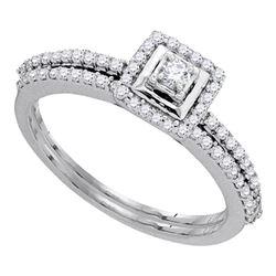1/3 CTW Round Diamond Slender Bridal Wedding Engagement Ring 10kt White Gold - REF-33K3R