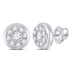 1 CTW Round Diamond Cluster Stud Earrings 14kt White Gold - REF-95F9M